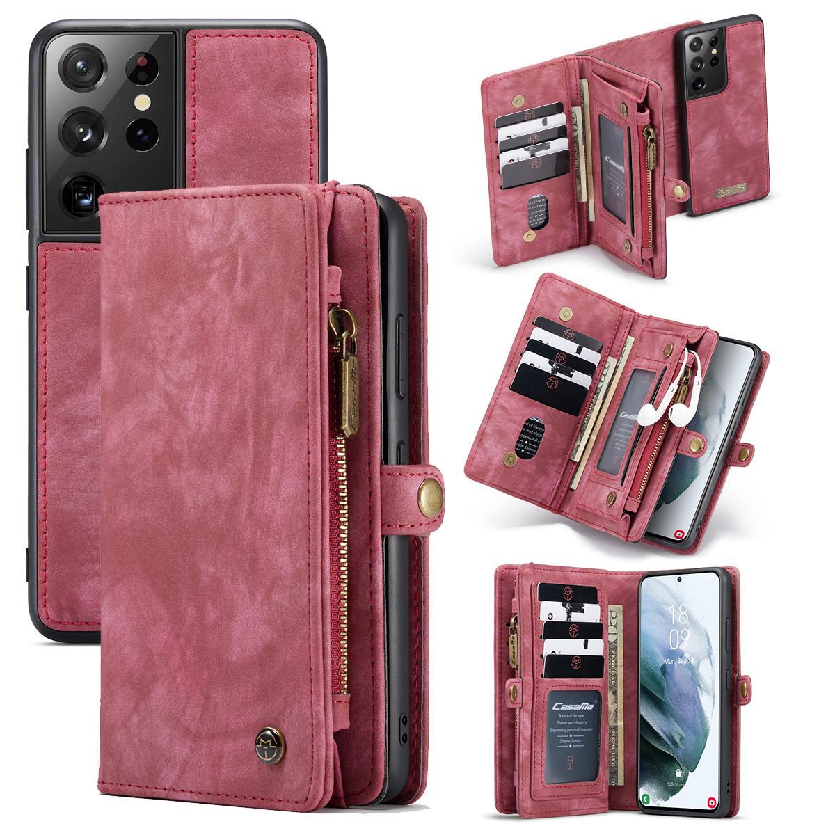 Multi-slot Suojakotelo Galaxy S21 Ultra punainen