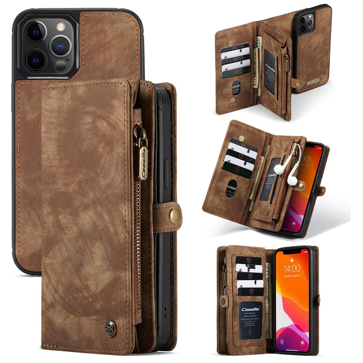 Multi-slot Suojakotelo iPhone 12/12 Pro ruskea