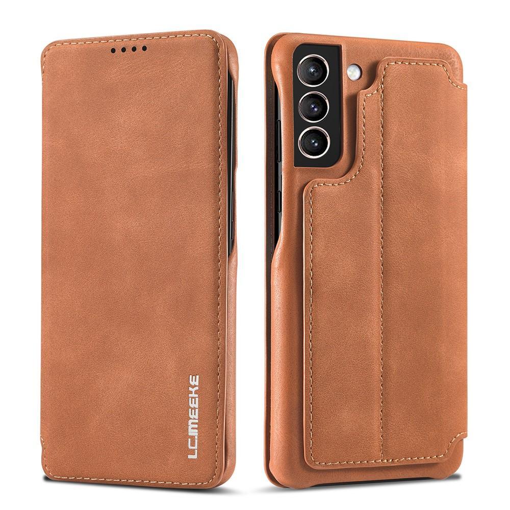 Slim Lompakkokotelot Samsung Galaxy S21 Cognac