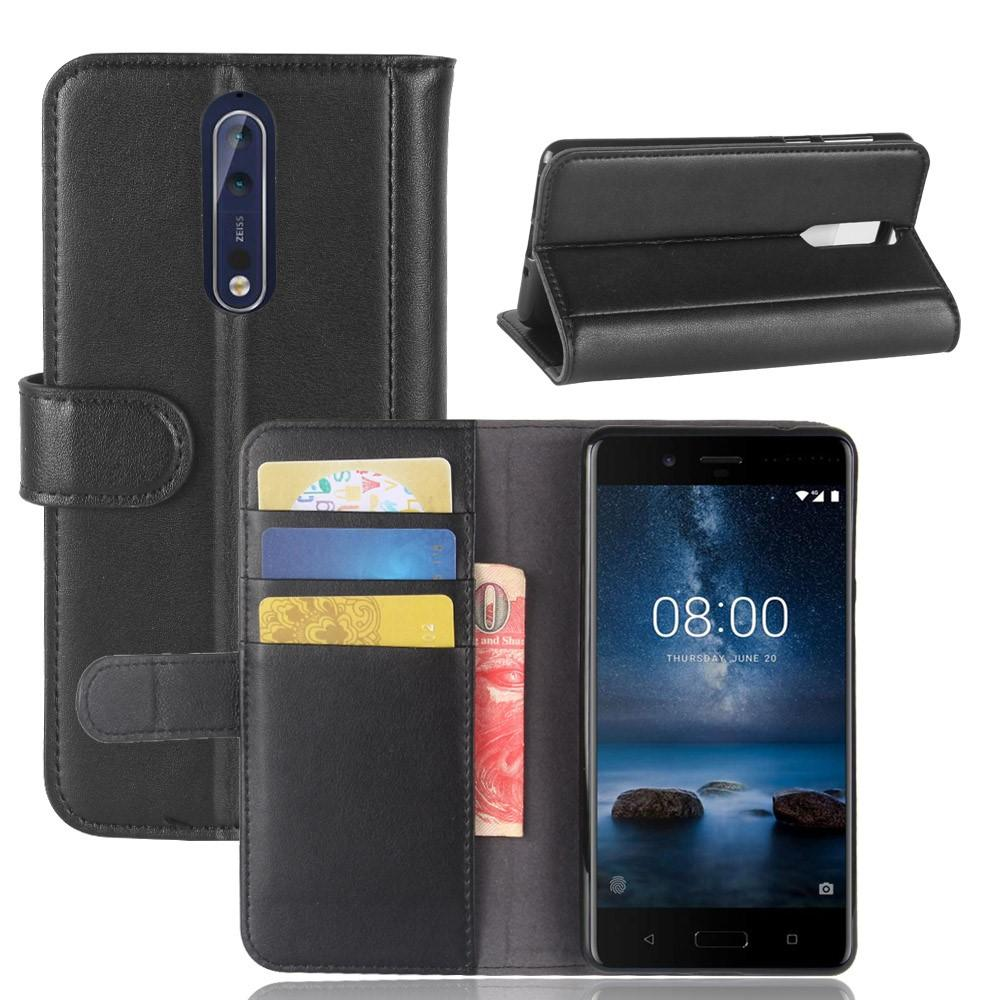 Aito Nahkakotelo Nokia 8 musta