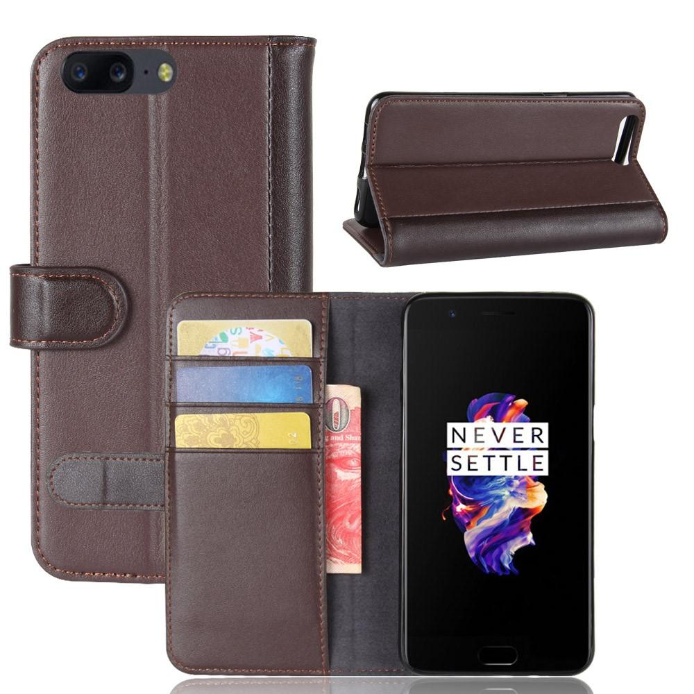 Aito Nahkakotelo OnePlus 5 ruskea