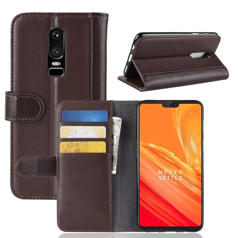 Aito Nahkakotelo OnePlus 6 ruskea