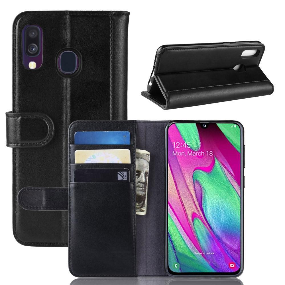 Aito Nahkakotelo Samsung Galaxy A40 musta