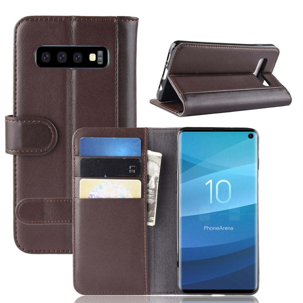 Aito Nahkakotelo Samsung Galaxy S10 ruskea