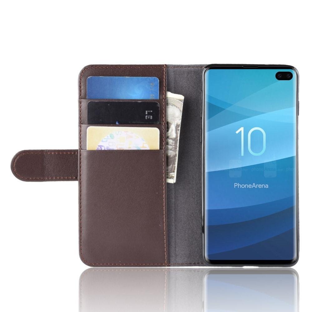 Aito Nahkakotelo Samsung Galaxy S10 Plus ruskea