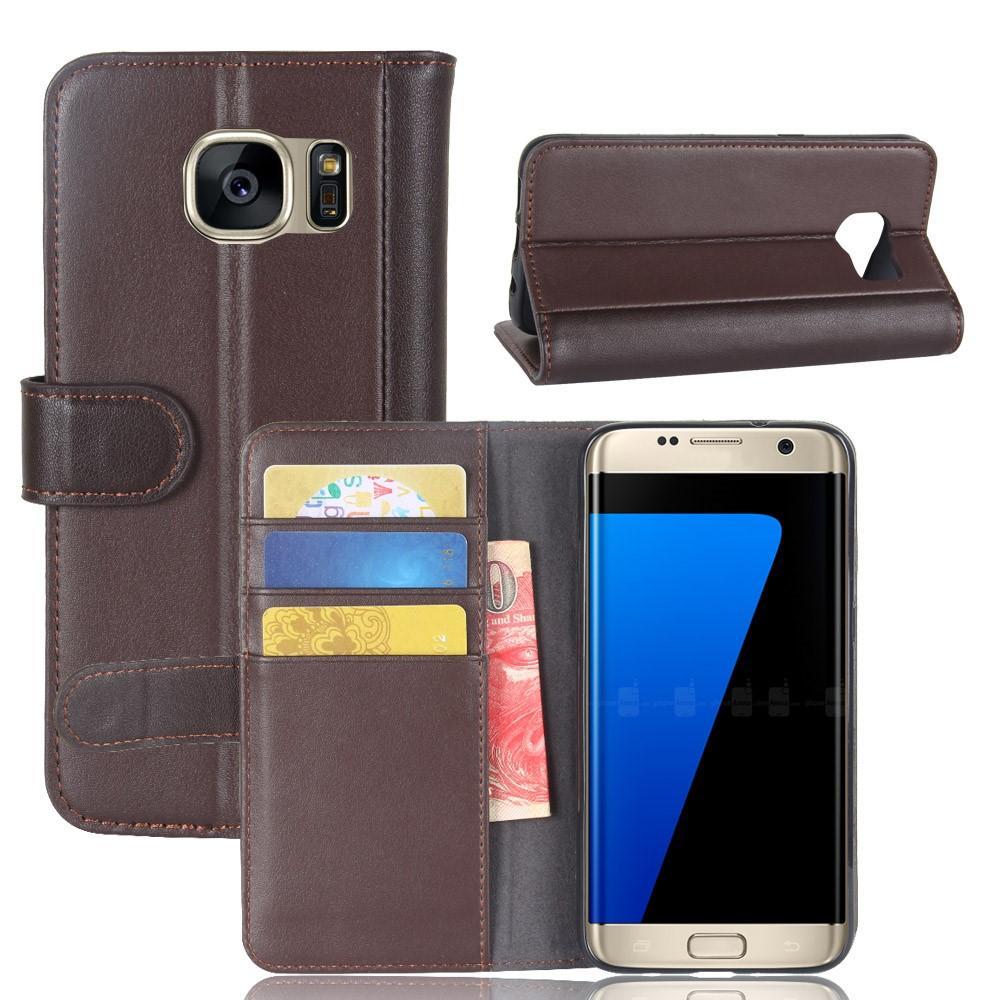 Aito Nahkakotelo Samsung Galaxy S7 Edge ruskea