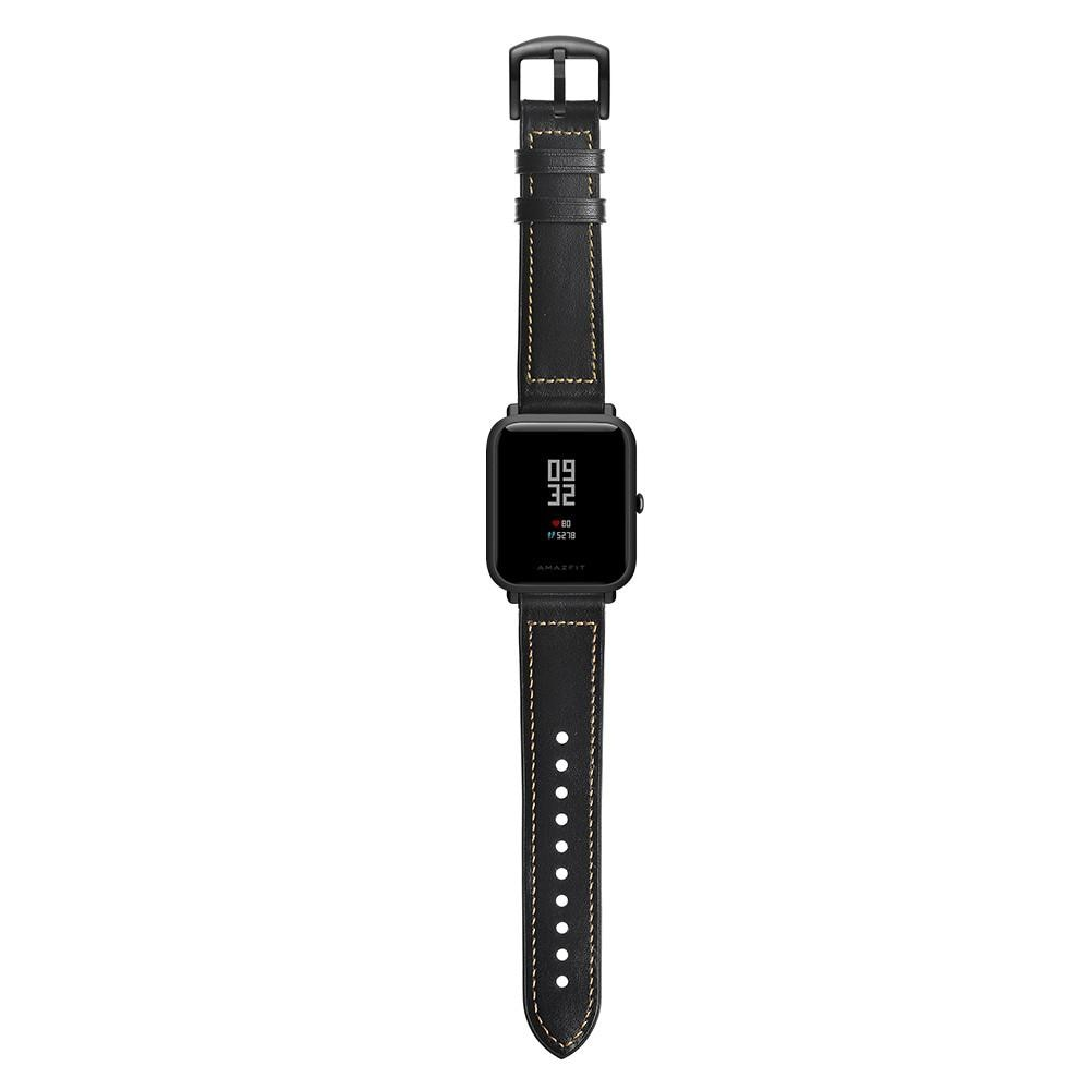 Premium Nahkaranneke Amazfit GTS musta