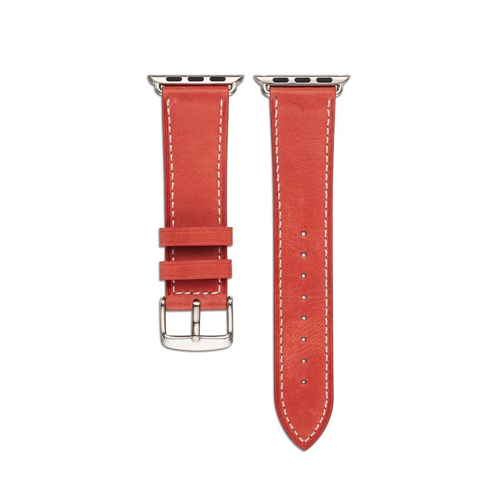 Nahkaranneke Apple Watch 42/44/45 mm punainen