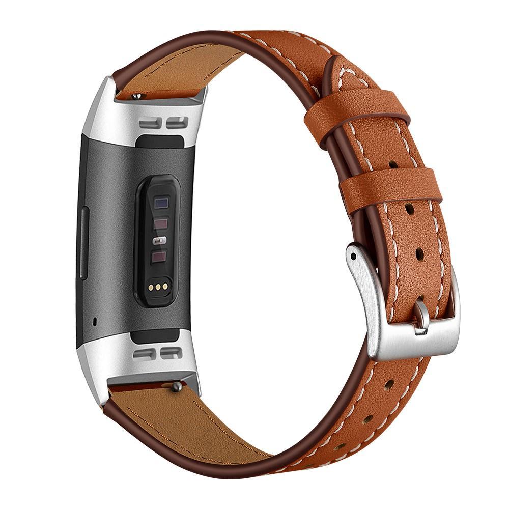 Nahkaranneke Fitbit Charge 3/4 ruskea