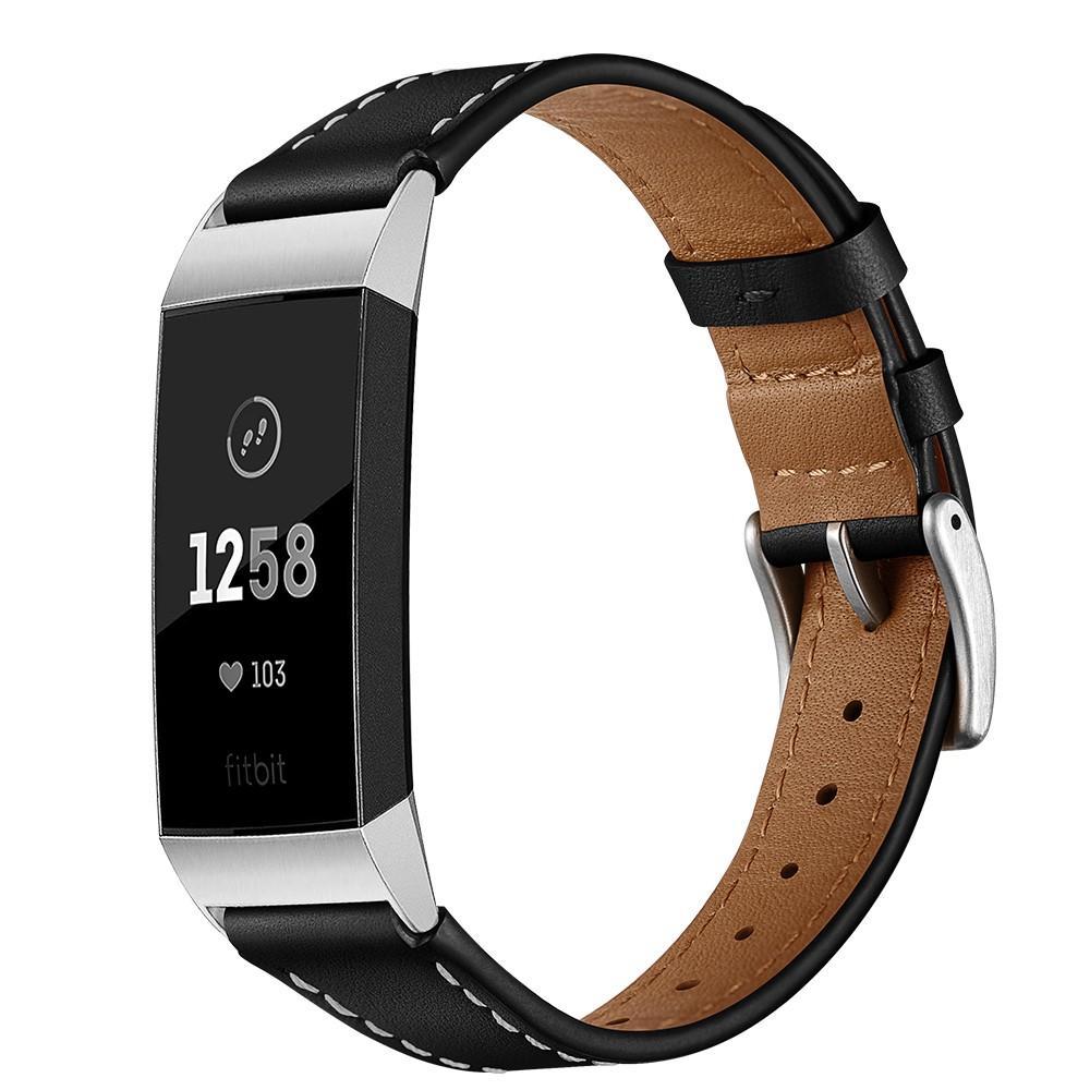 Nahkaranneke Fitbit Charge 3/4 musta