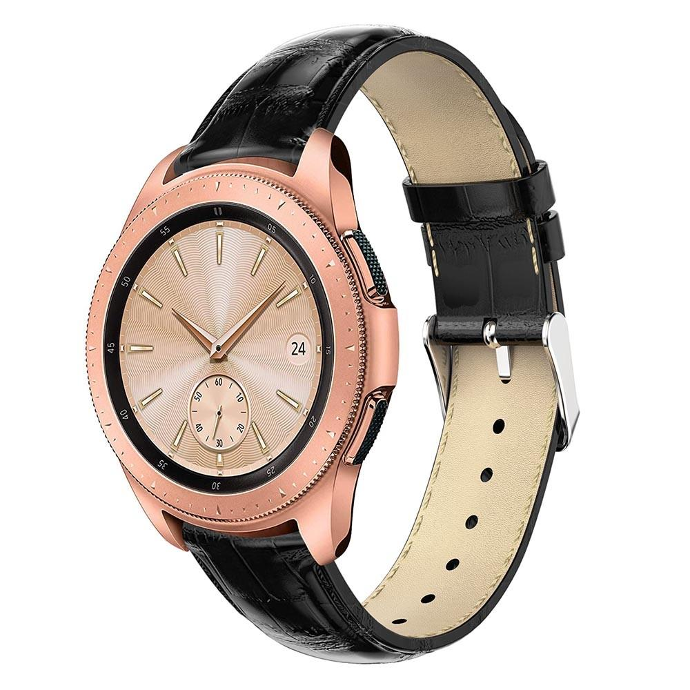 Nahkaranneke Krokodil Galaxy Watch 42mm musta