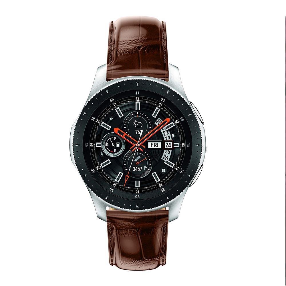 Nahkaranneke Krokodil Galaxy Watch 46mm ruskea
