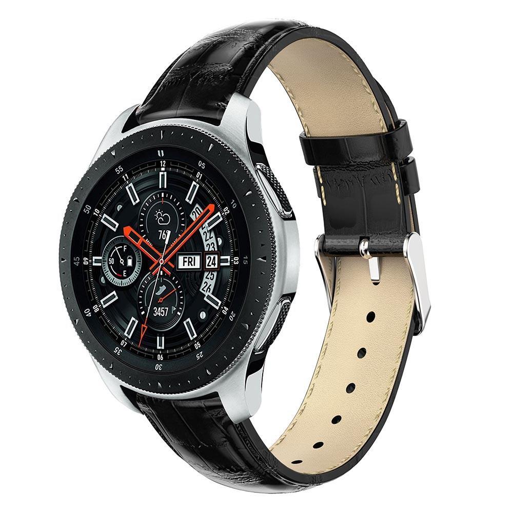 Nahkaranneke Krokodil Galaxy Watch 46mm musta