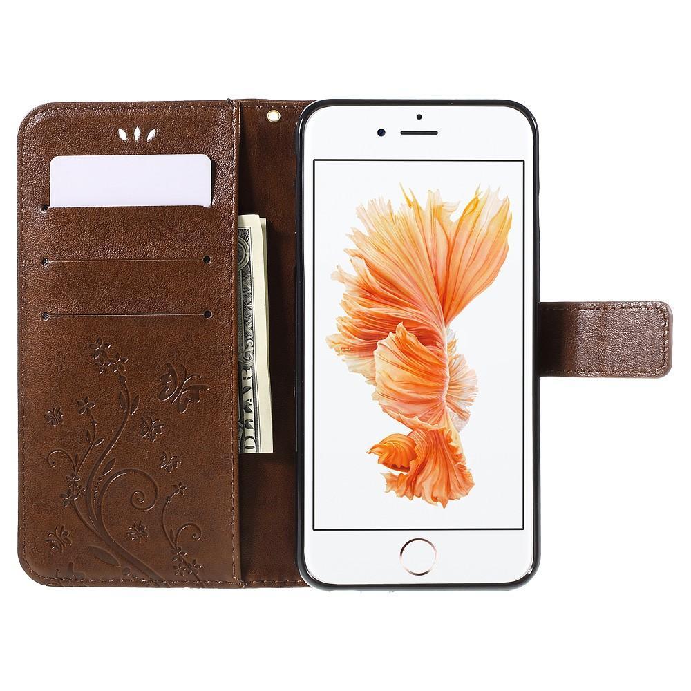 Nahkakotelo Perhonen Apple iPhone 6/6S ruskea