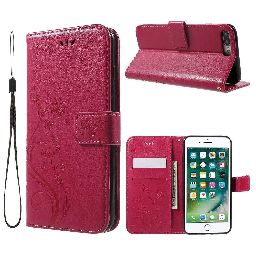 Nahkakotelo Perhonen Apple iPhone 7 Plus/8 Plus cerise
