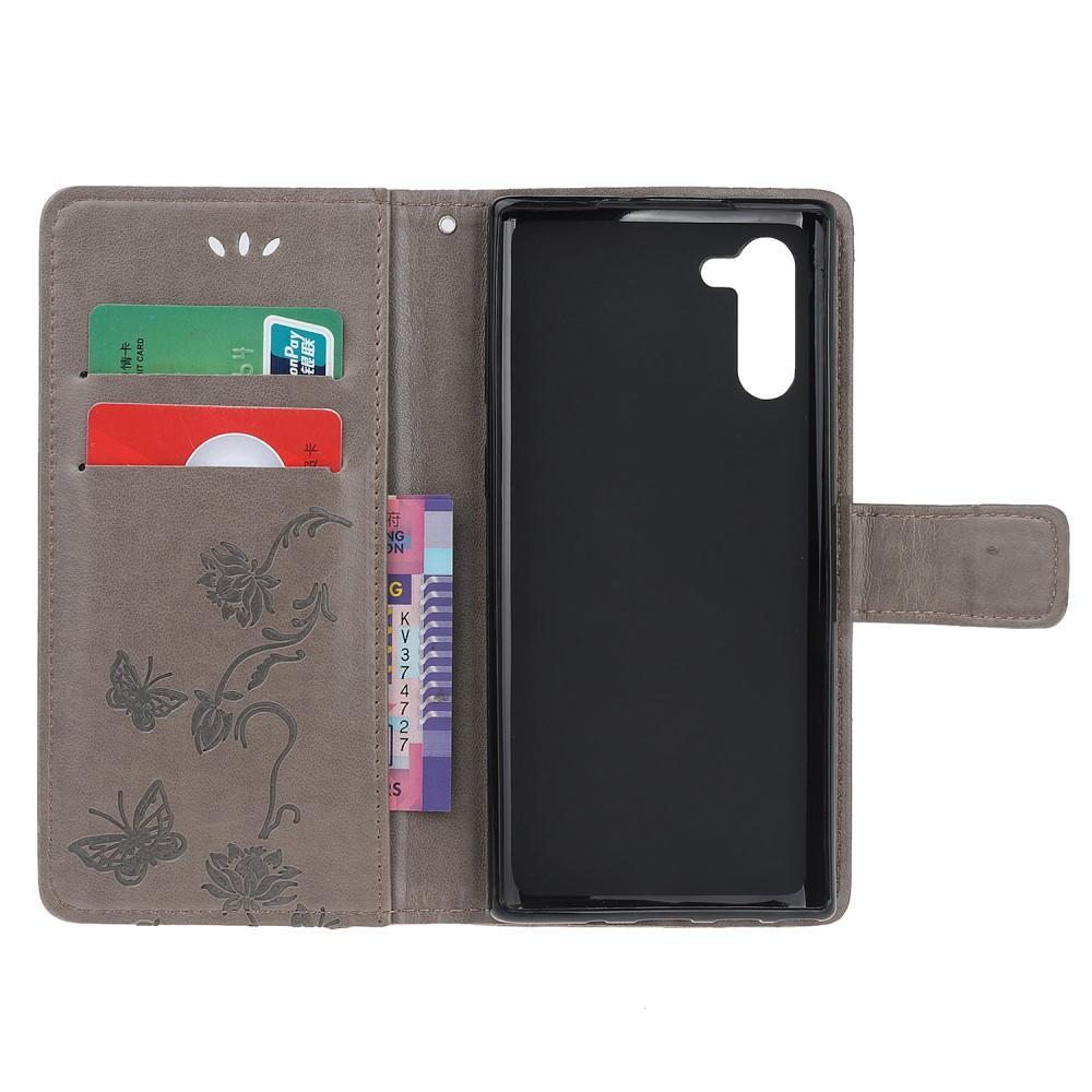 Nahkakotelo Perhonen Galaxy Note 10 harmaa
