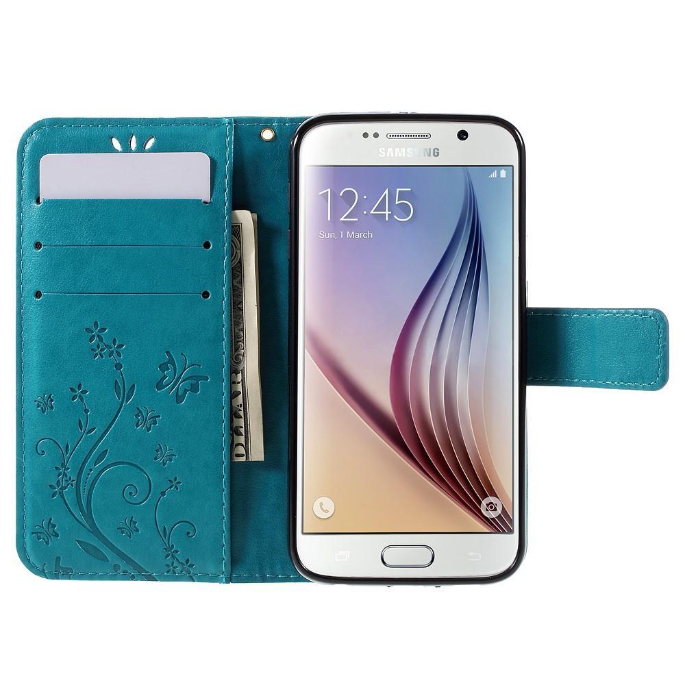 Nahkakotelo Perhonen Galaxy S6 sininen