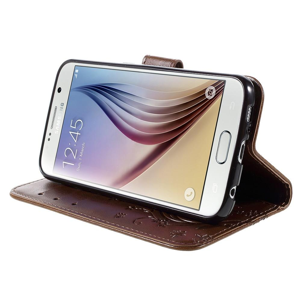 Nahkakotelo Perhonen Galaxy S6 ruskea
