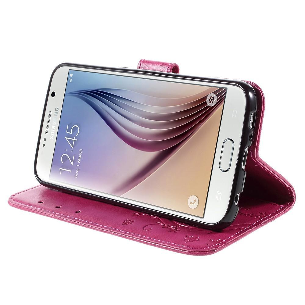 Nahkakotelo Perhonen Galaxy S6 vaaleanpunainen