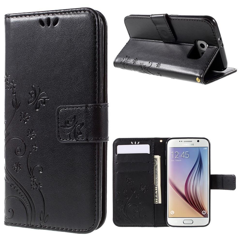 Nahkakotelo Perhonen Galaxy S6 musta