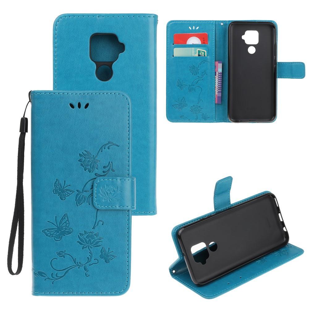 Nahkakotelo Perhonen Huawei Mate 30 Lite sininen