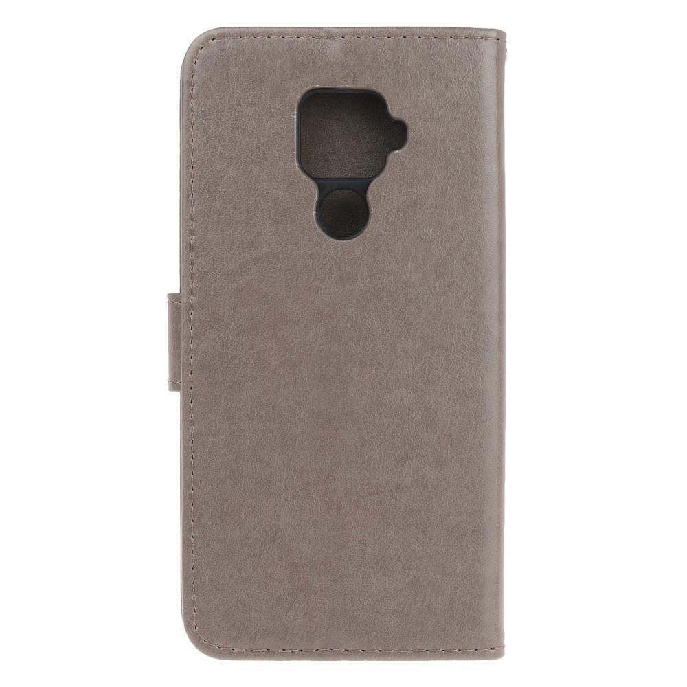 Nahkakotelo Perhonen Huawei Mate 30 Lite harmaa