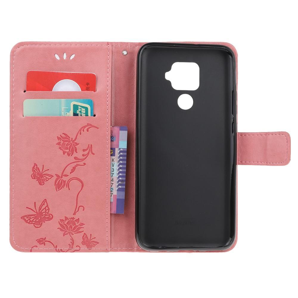 Nahkakotelo Perhonen Huawei Mate 30 Lite vaaleanpunainen