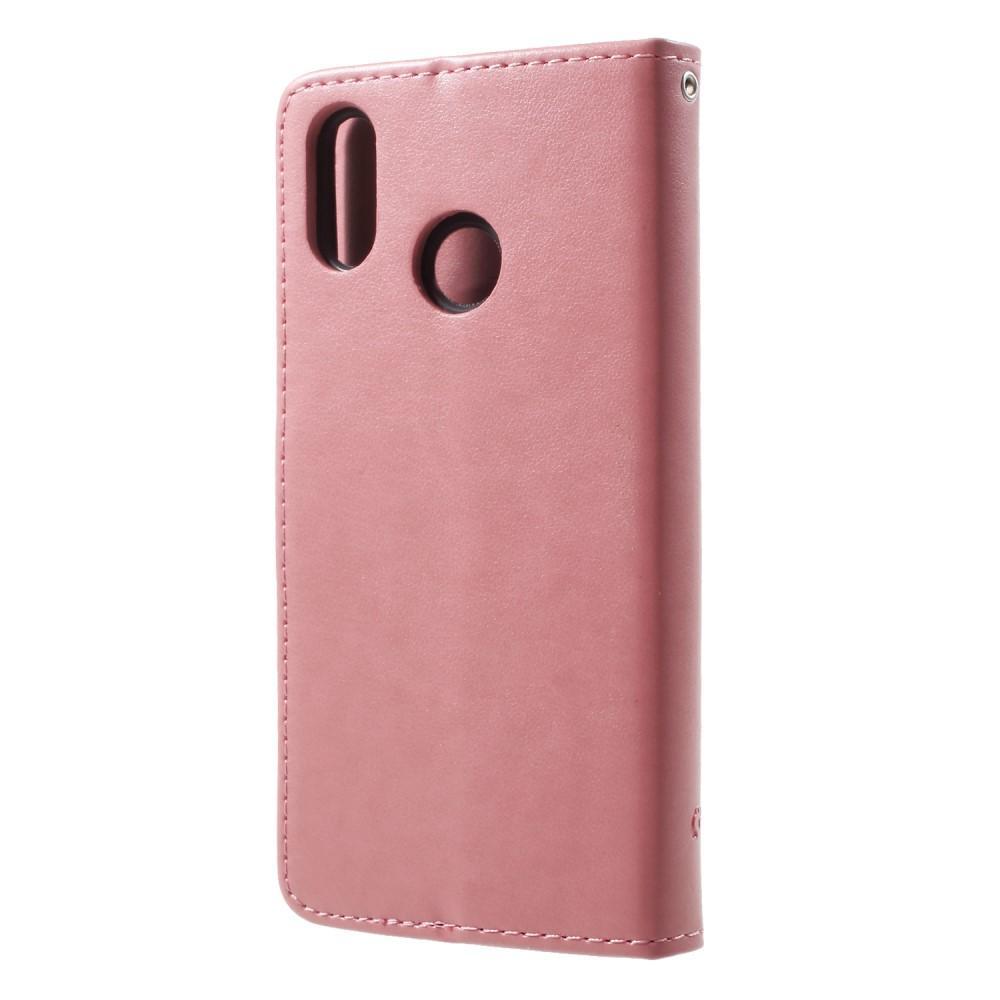 Nahkakotelo Perhonen Huawei P20 Lite vaaleanpunainen