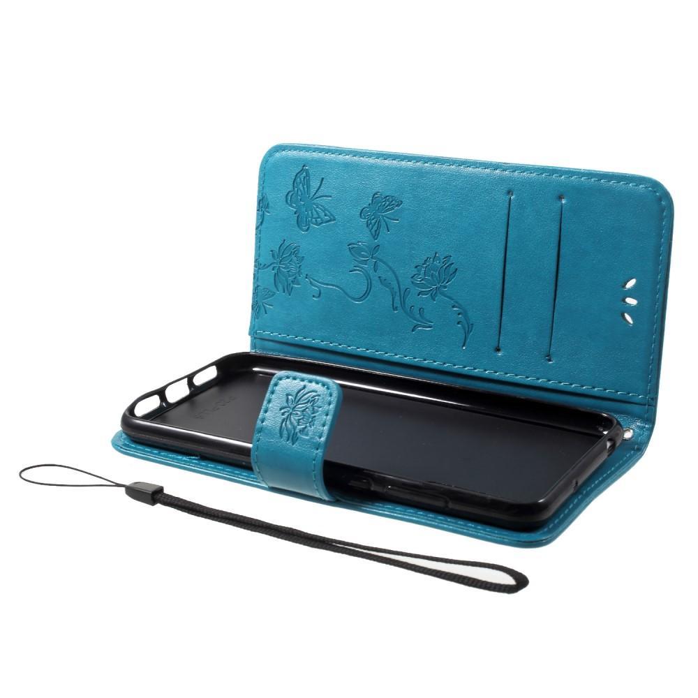Nahkakotelo Perhonen Huawei P20 Pro sininen