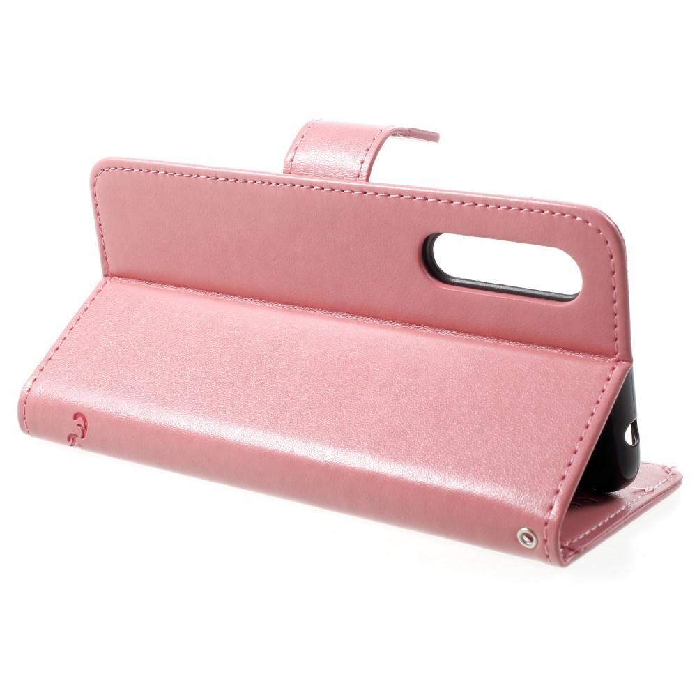 Nahkakotelo Perhonen Huawei P20 Pro vaaleanpunainen