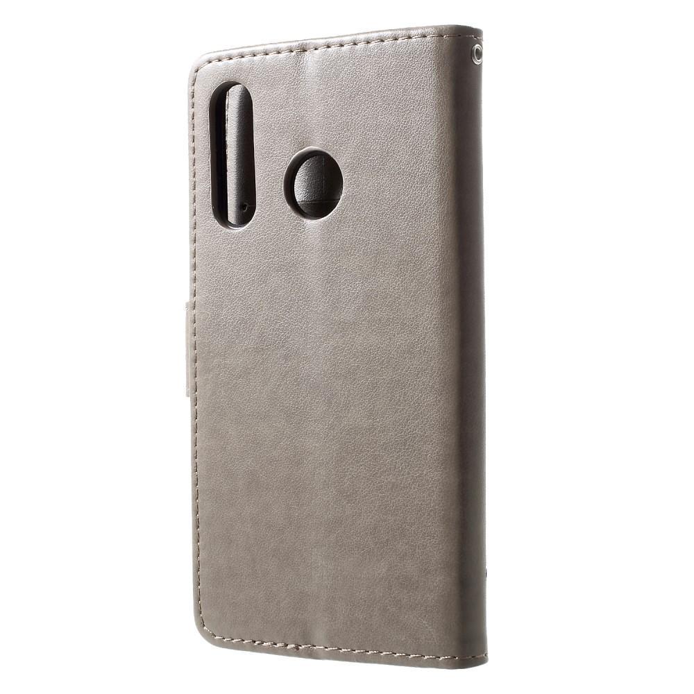 Nahkakotelo Perhonen Huawei P30 Lite harmaa