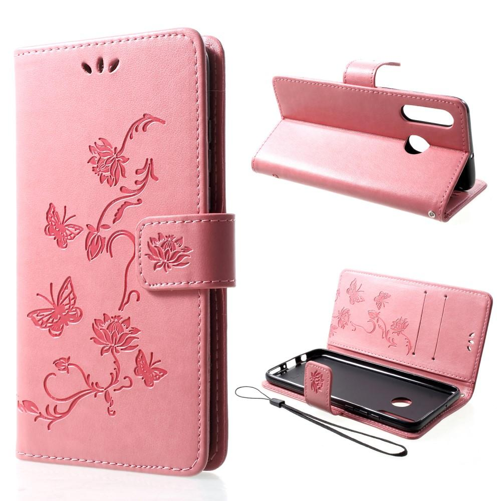 Nahkakotelo Perhonen Huawei P30 Lite vaaleanpunainen