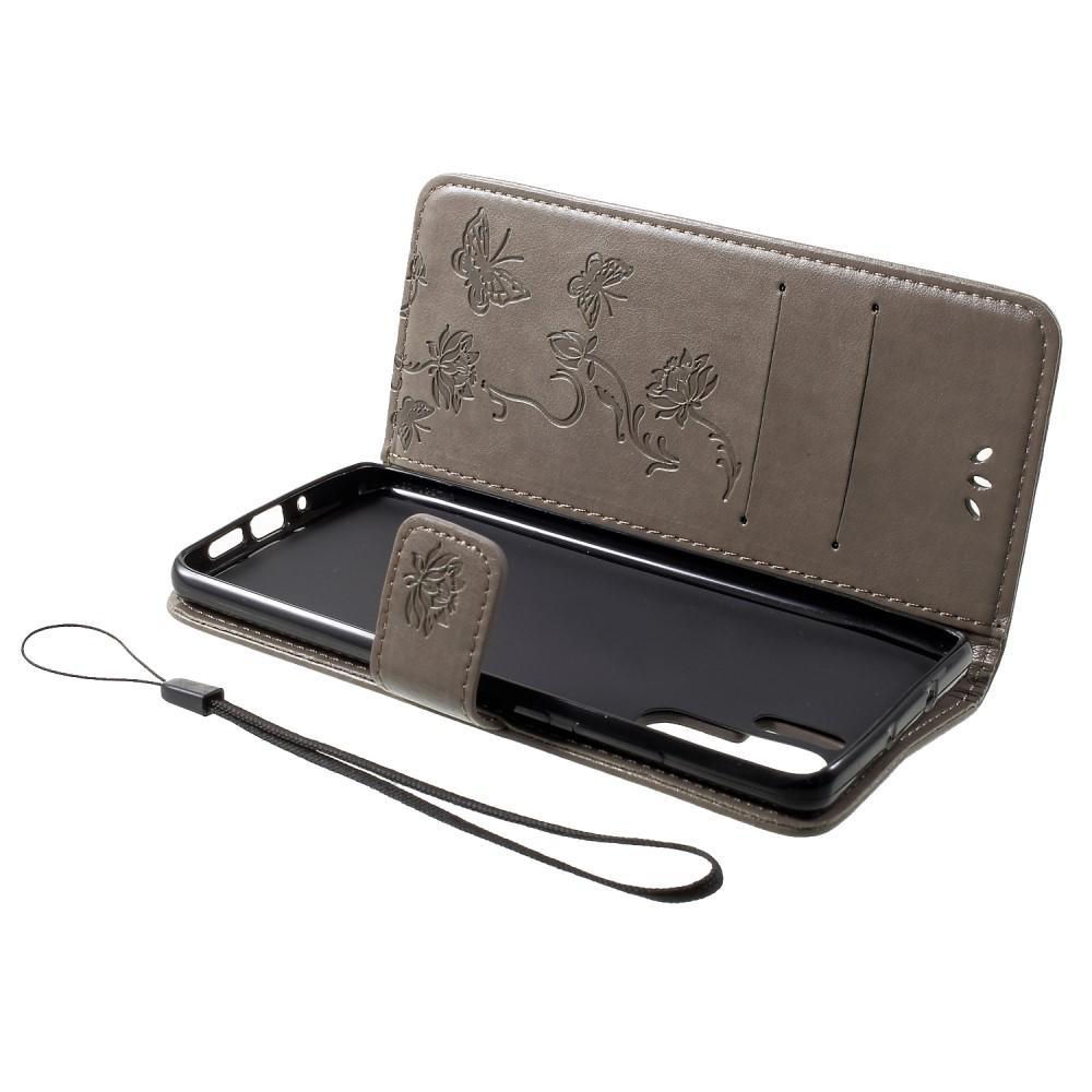 Nahkakotelo Perhonen Huawei P30 Pro harmaa