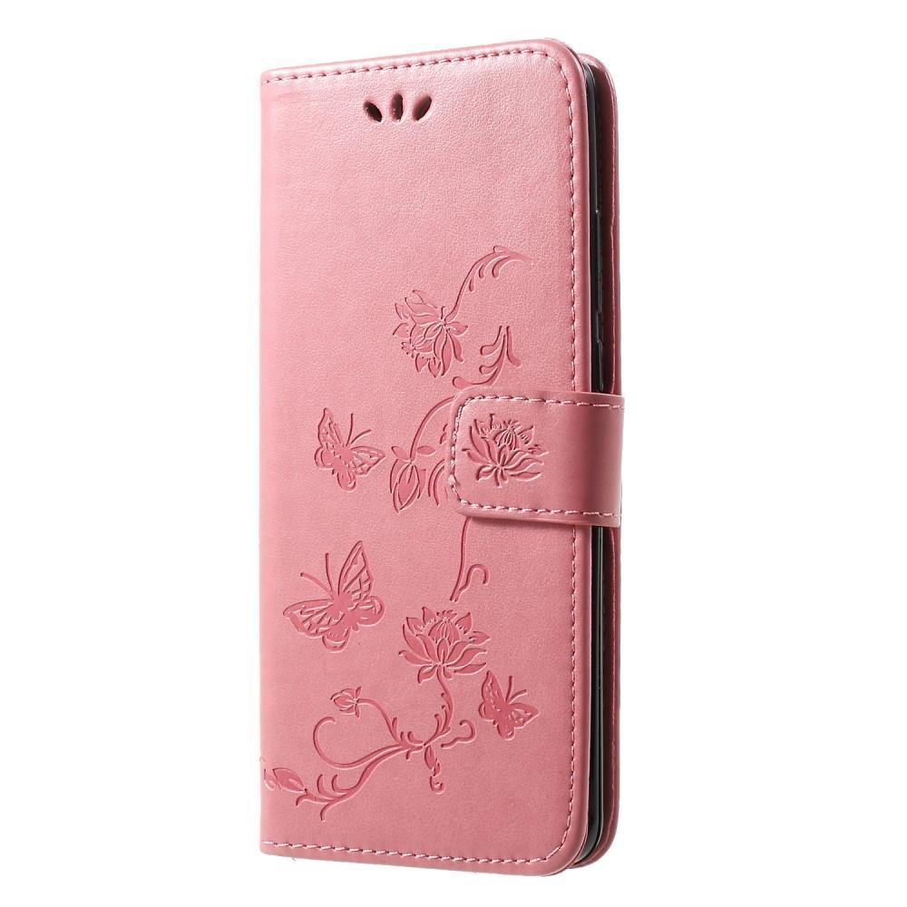 Nahkakotelo Perhonen Huawei P30 Pro vaaleanpunainen