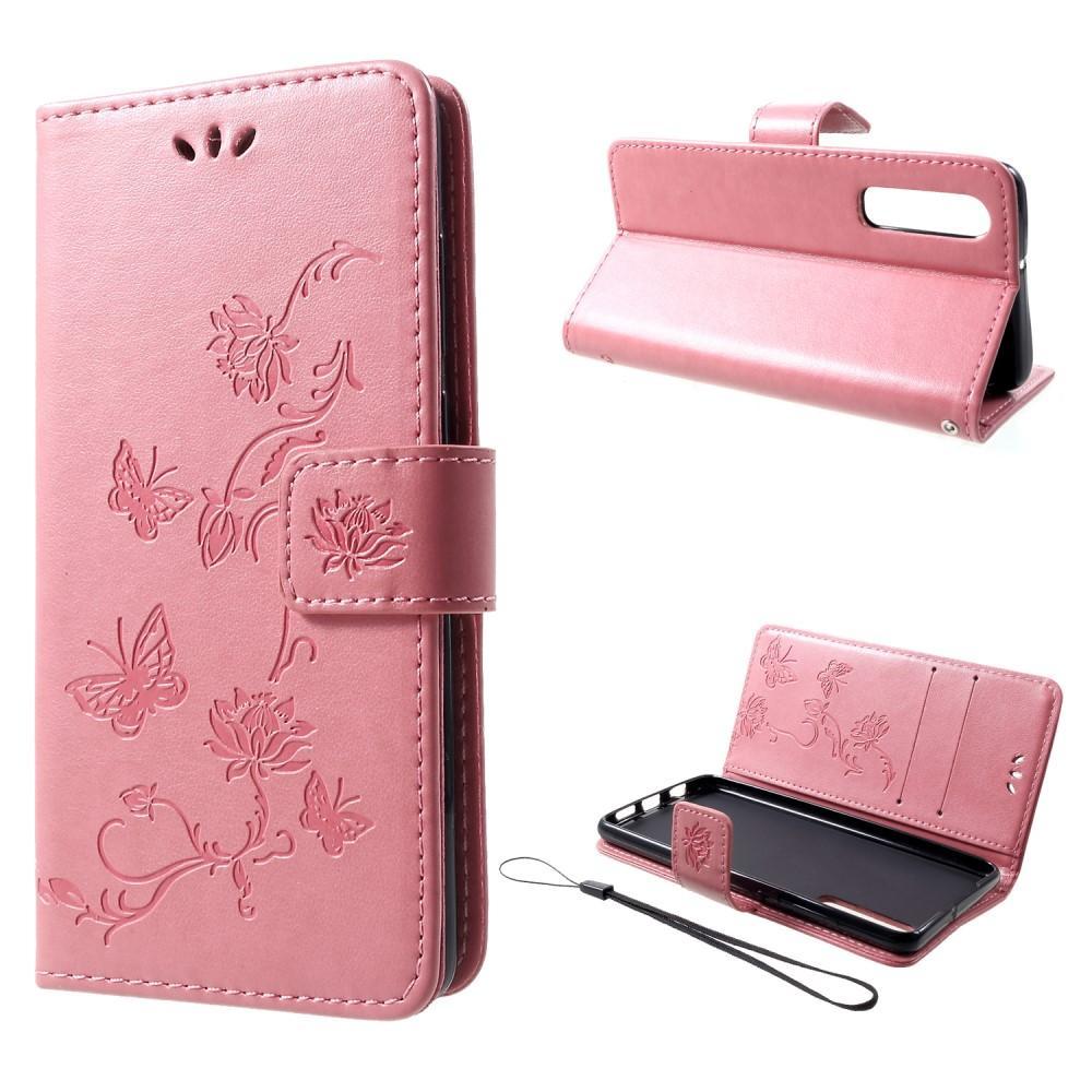 Nahkakotelo Perhonen Huawei P30 vaaleanpunainen