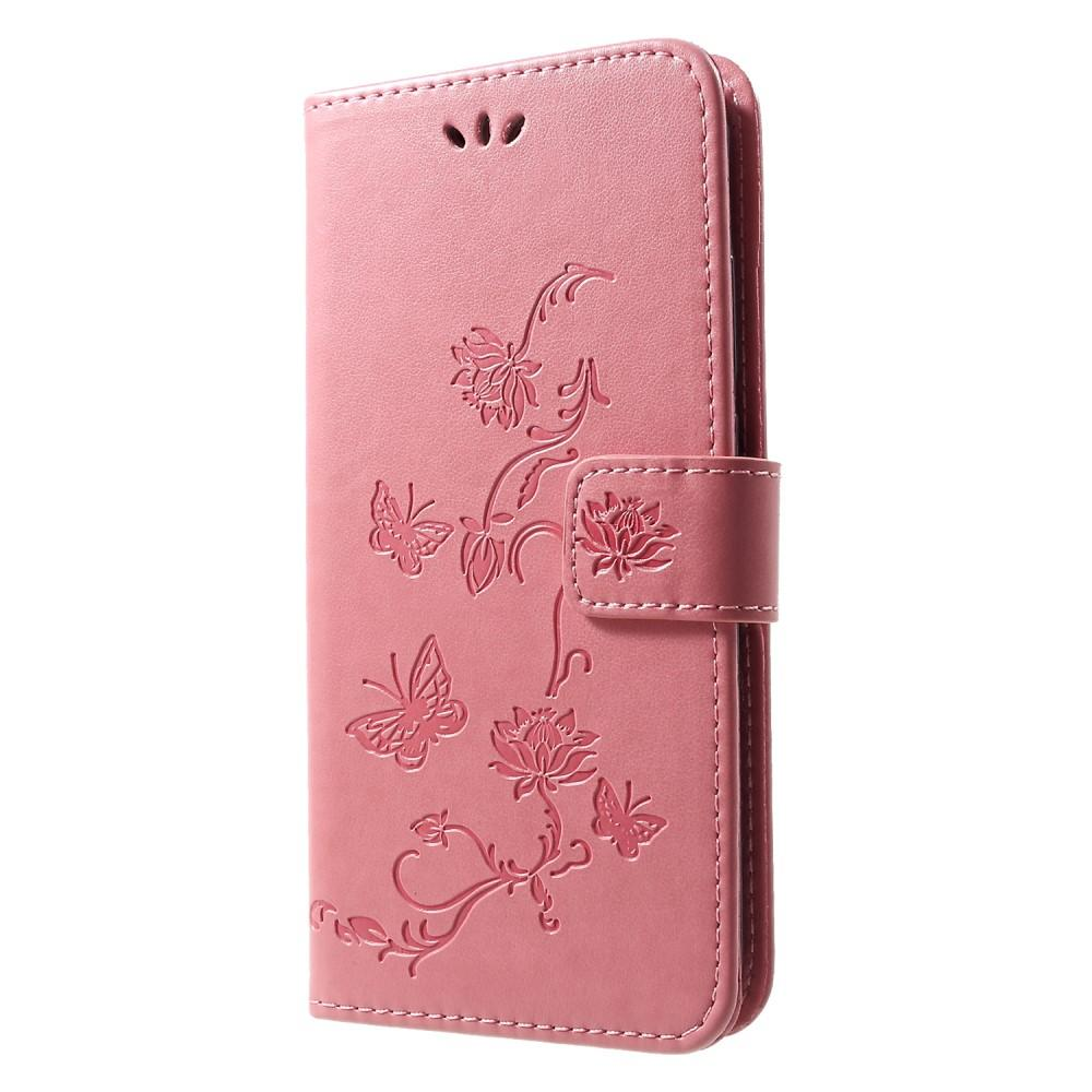 Nahkakotelo Perhonen Huawei P Smart 2019 vaaleanpunainen