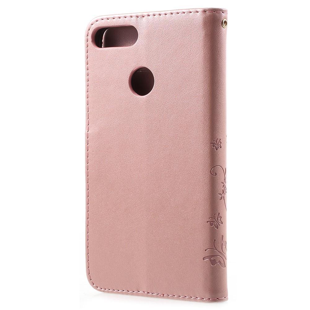 Nahkakotelo Perhonen Huawei P Smart vaaleanpunainen
