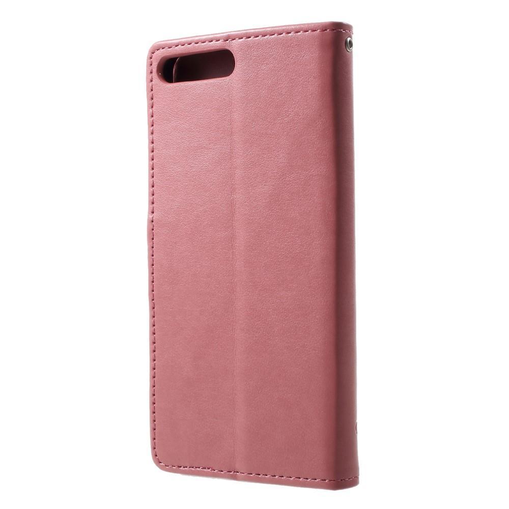 Nahkakotelo Perhonen Huawei Y6 2018 vaaleanpunainen
