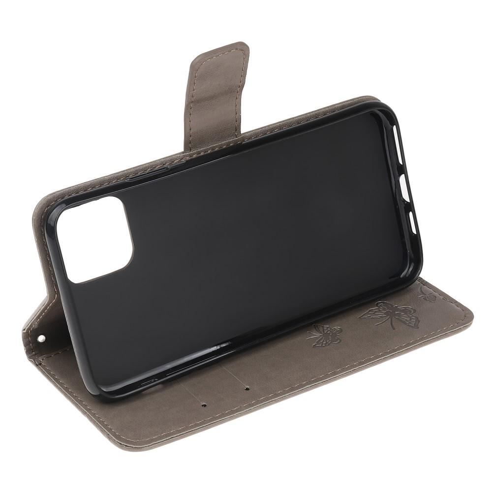 Nahkakotelo Perhonen iPhone 11 harmaa