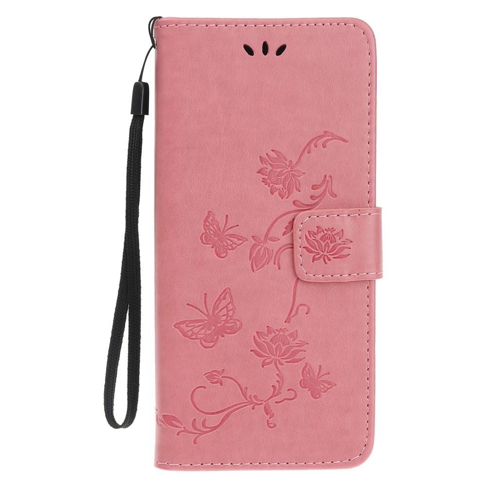Nahkakotelo Perhonen iPhone 11 Pro vaaleanpunainen