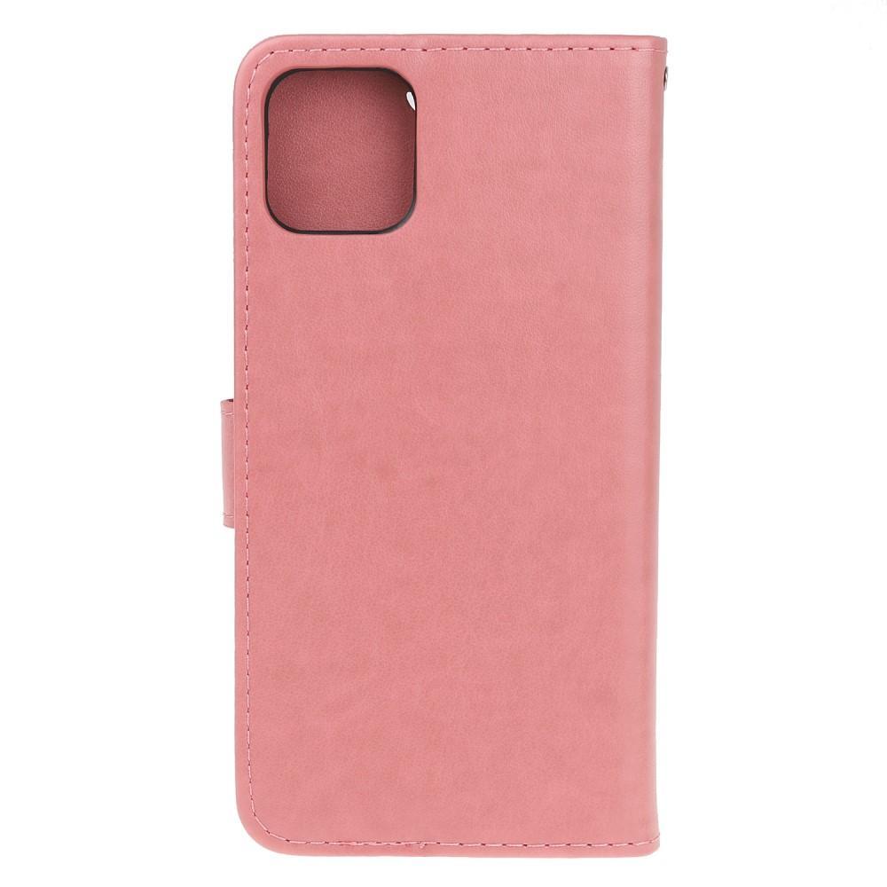 Nahkakotelo Perhonen iPhone 11 vaaleanpunainen