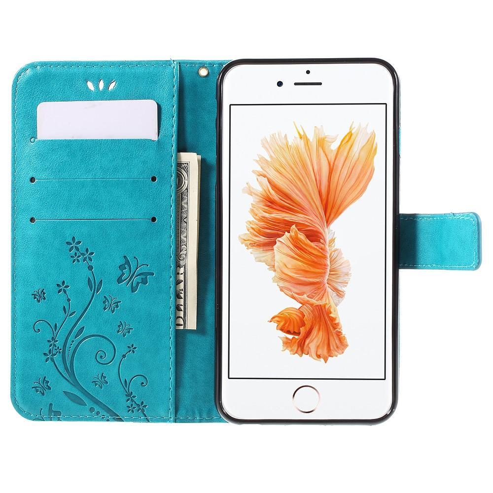 Nahkakotelo Perhonen iPhone 6 Plus/6S Plus sininen