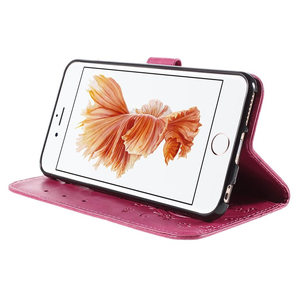 Nahkakotelo Perhonen iPhone 6 Plus/6S Plus vaaleanpunainen