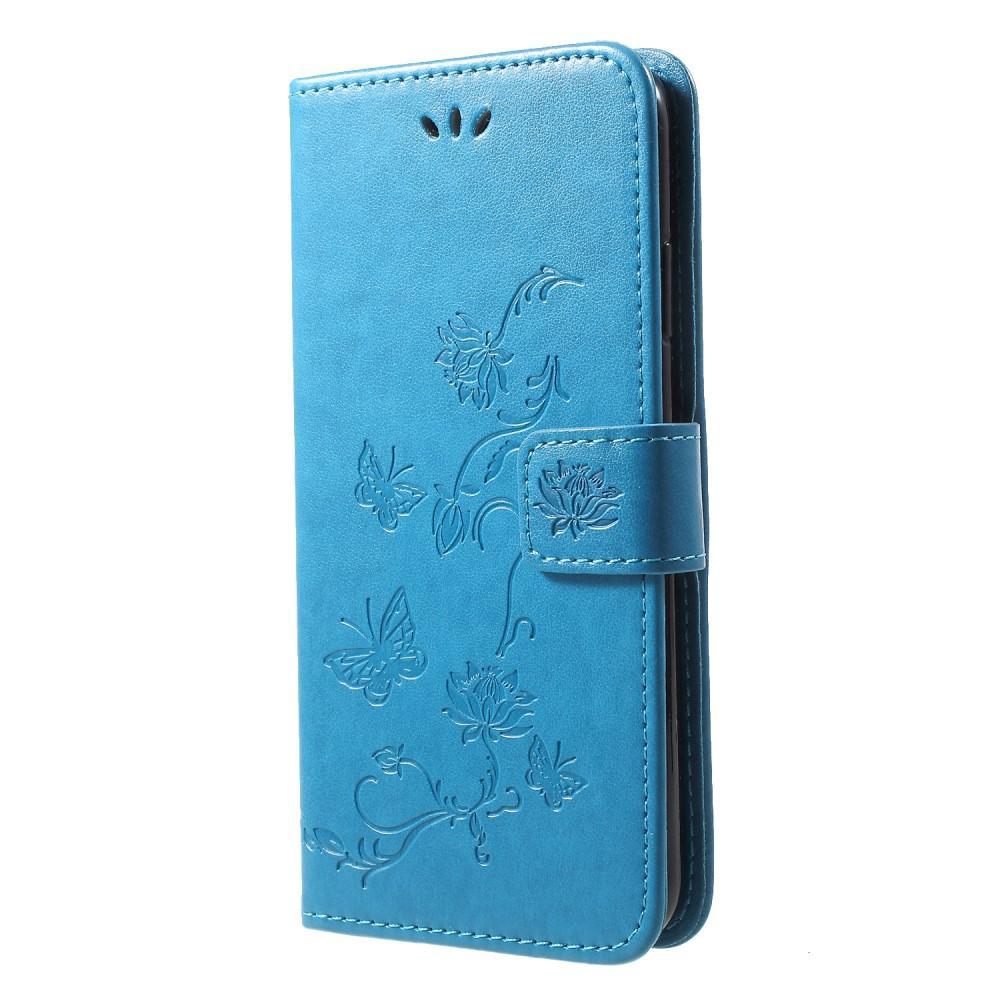 Nahkakotelo Perhonen iPhone XR sininen