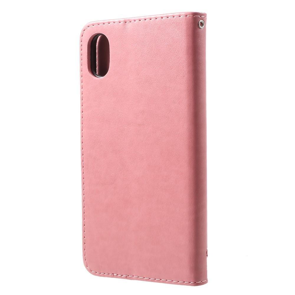 Nahkakotelo Perhonen iPhone XR vaaleanpunainen