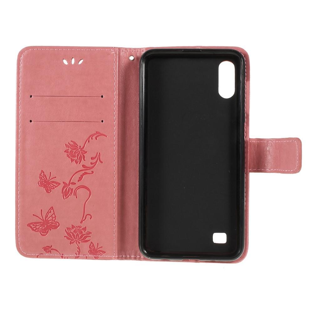 Nahkakotelo Perhonen Samsung Galaxy A10 vaaleanpunainen