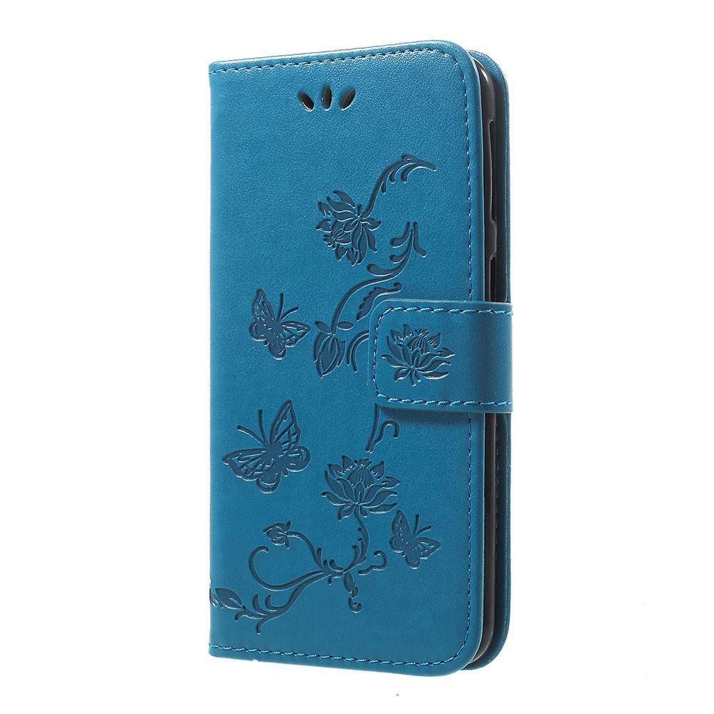 Nahkakotelo Perhonen Samsung Galaxy A20e sininen