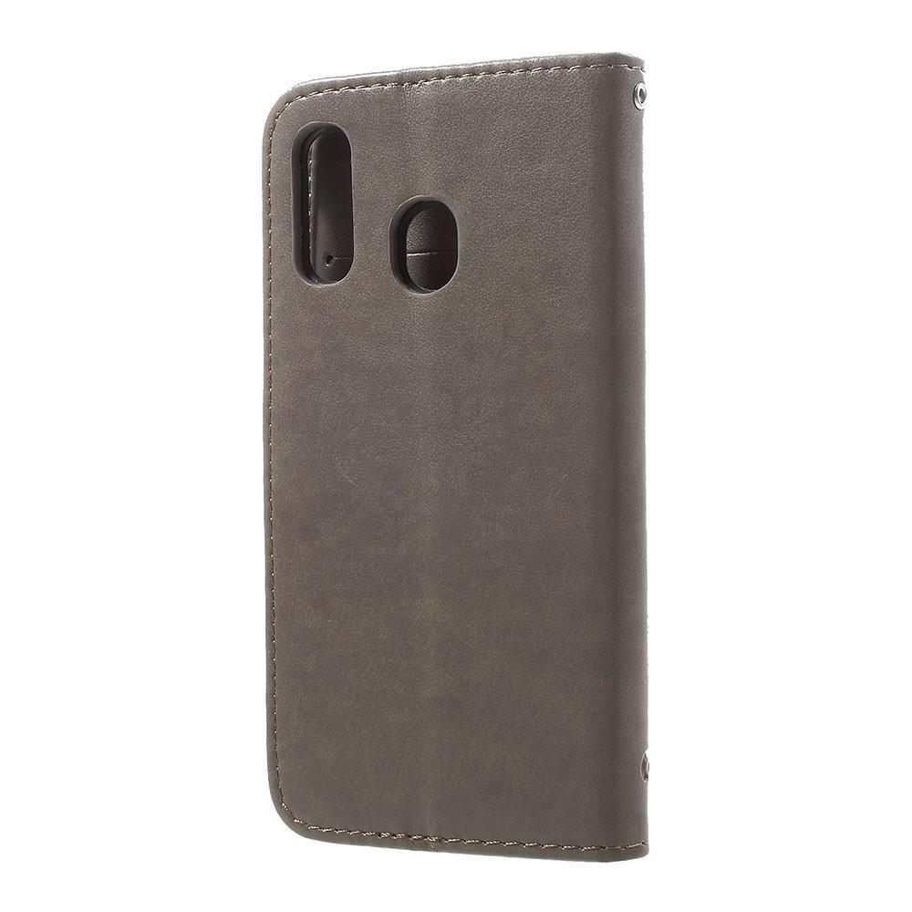 Nahkakotelo Perhonen Samsung Galaxy A20e harmaa
