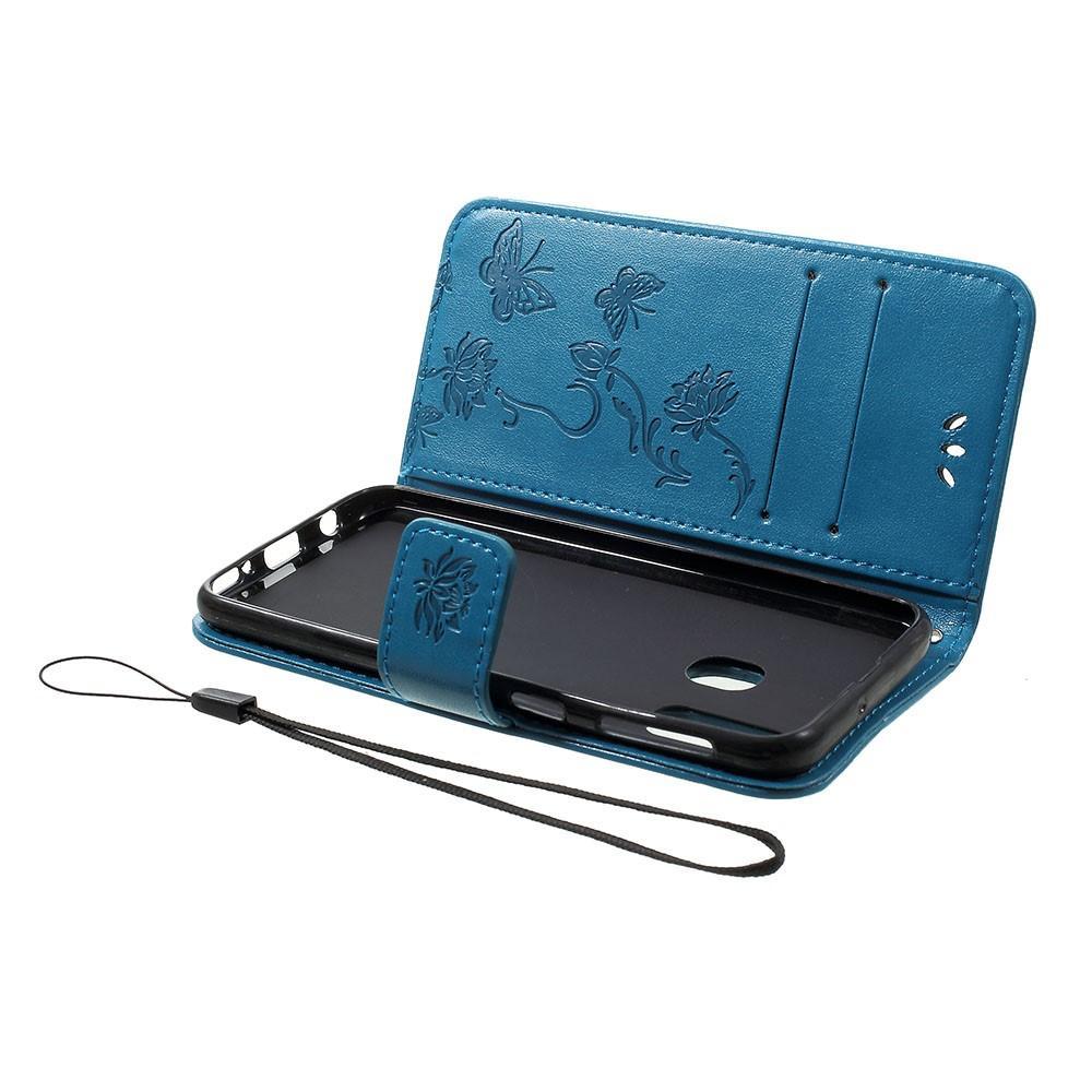 Nahkakotelo Perhonen Samsung Galaxy A40 sininen