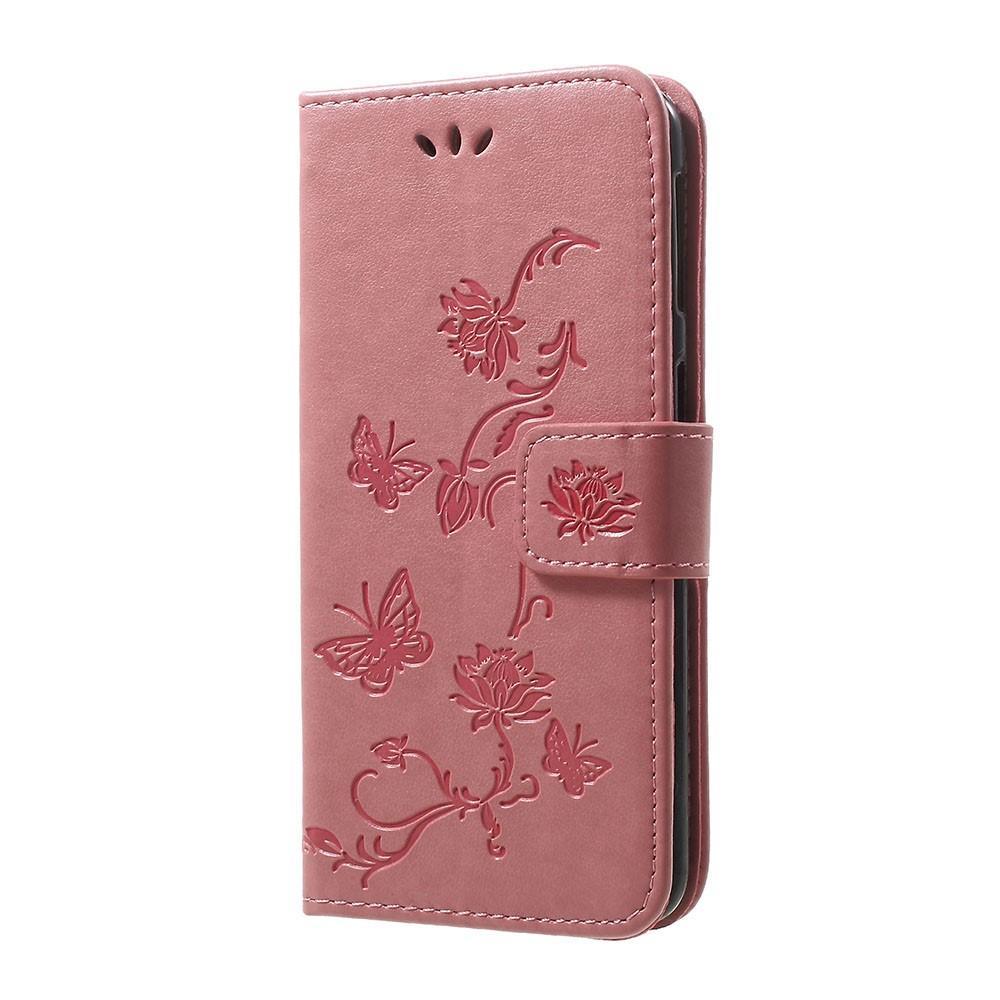 Nahkakotelo Perhonen Samsung Galaxy A40 vaaleanpunainen